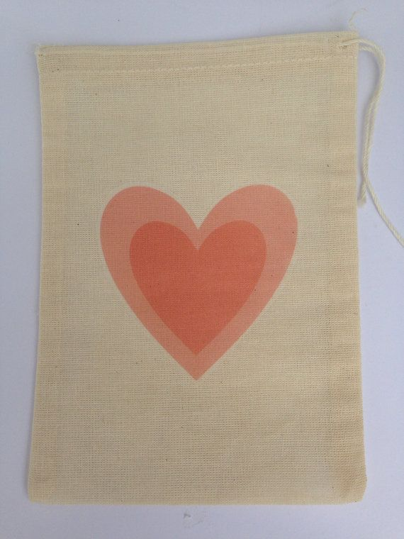 12 x  Printed Love Heart Cotton Muslin Gift Favour Bag - approx 5x7 inches (12.75x17.75 cm) in size