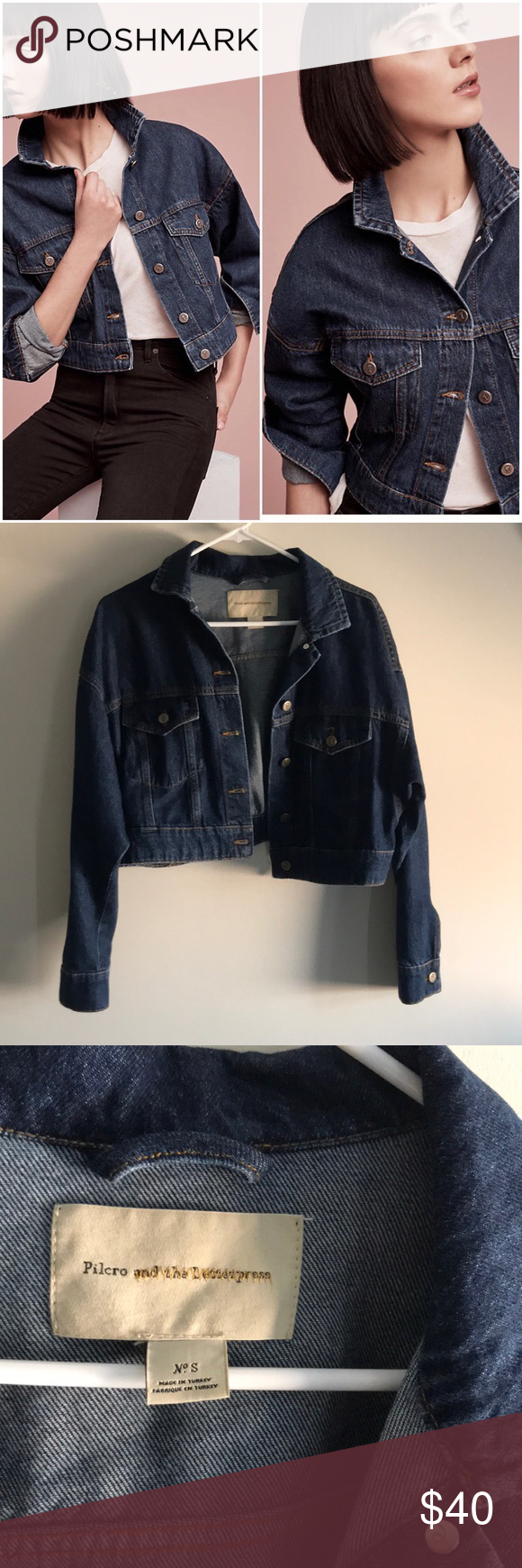 8ca132400e5 Anthropologie Pilcro Denim Trucker Jacket Size S Size Small Pilcro and the  Letterpress denim jacket.