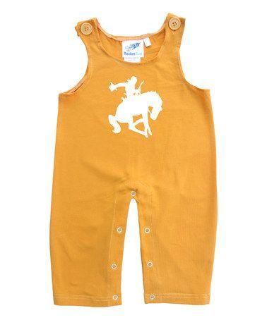 Look what I found on #zulily! Mustard Bucking Cowboy Overalls - Infant & Toddler #zulilyfinds