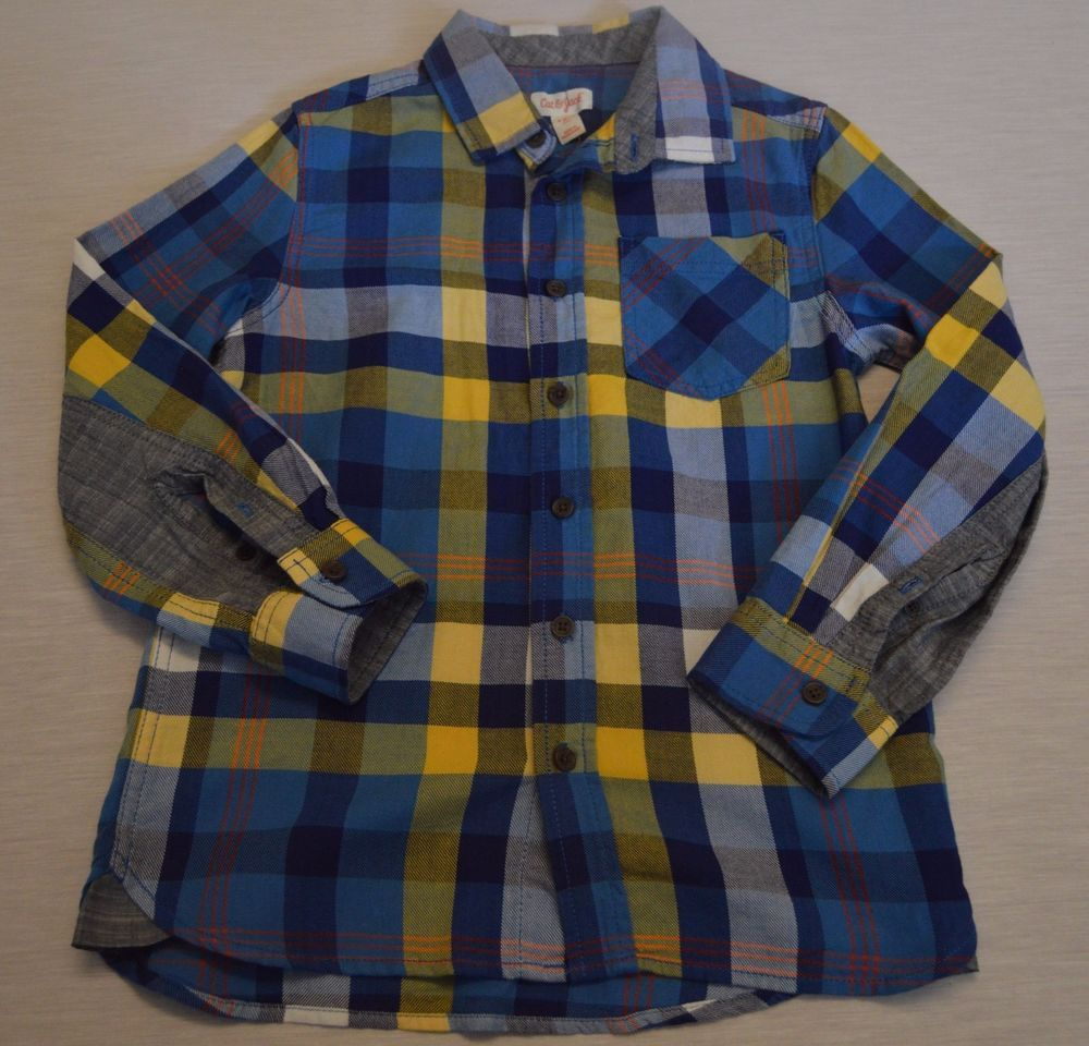 fd649b908 Boys Plaid Long Sleeve Button Down Shirt Cat & Jack Blue Yellow Check Small  6/7 #CatJack