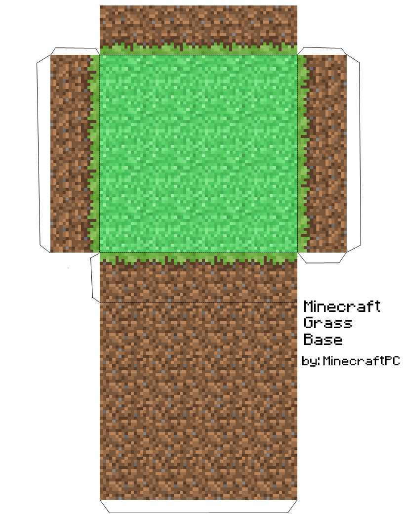 Papercraft Grass Block Base Minecraft Crafts Minecraft Printables Paper Crafts
