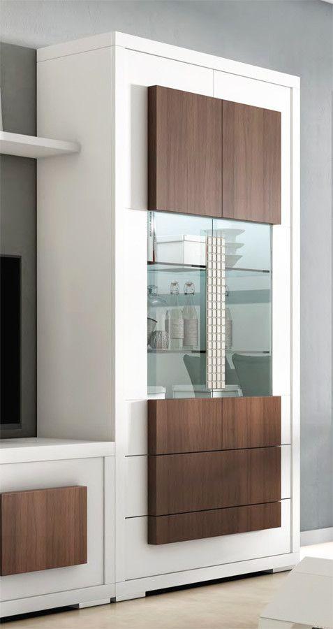 Vitrina con 2 cajones y 2 puertas con iluminación led - pino | Pallets