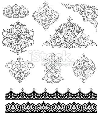 Set Of Ornaments Based On Islamic Design Colors Are Global For Easy Islamische Muster Musterkunst Orientalische Muster