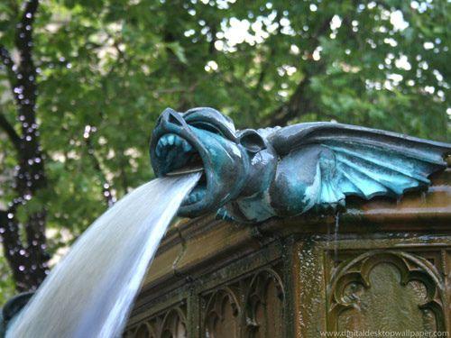 Gargoyle Water Fountain Manchester Uk Gothic
