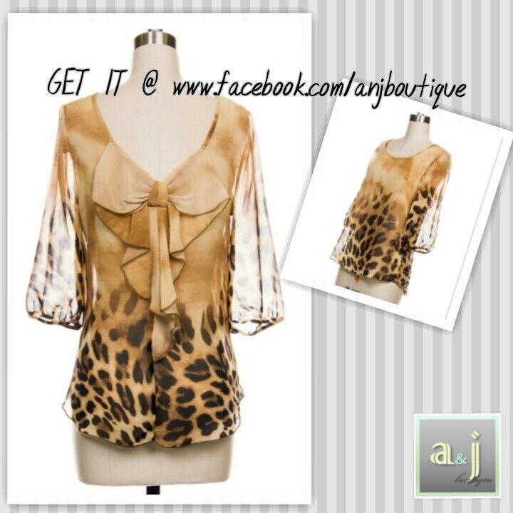 Bow back Leopard top -LIKE us on Facebook! www.facebook.com/anjboutique