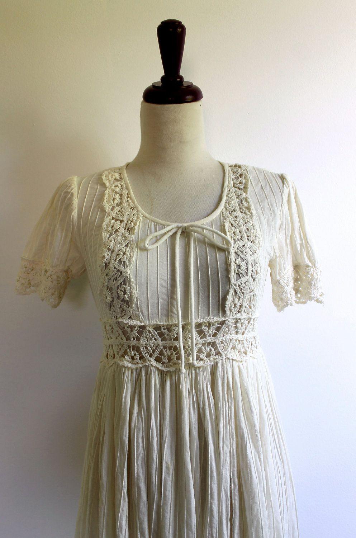1960 wedding dresses  s Dress  BOHEMIAN BRIDE  Cream Lace Wedding Dress  Bohemian