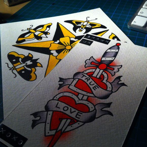 sword / heart traditional tattoo