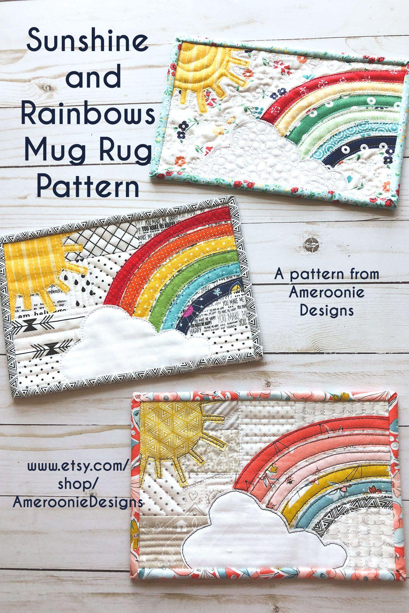 Pattern Sunshine And Rainbow Applique Mug Rug Pdf Pattern Etsy In 2020 Mug Rug Mug Rug Patterns Moda Fabric Quilts