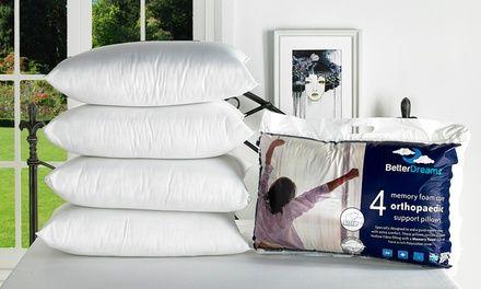 Cuscini Memory Groupon.Four Better Dreams Memory Foam Core Pillows Pillows Memory Foam
