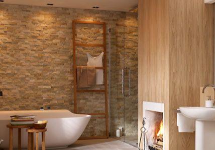 wandgestaltung im badezimmer home sweet home pinterest natursteinwand wandgestaltung und. Black Bedroom Furniture Sets. Home Design Ideas