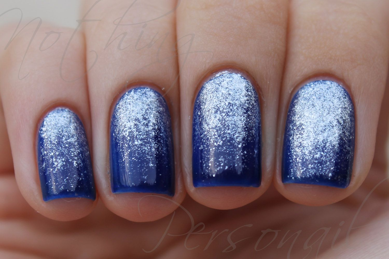Blue With Silver Sparkles Nail Art