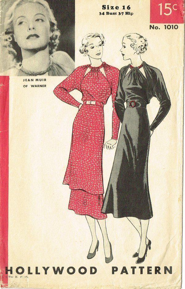 40e1df73f Hollywood Pattern 1010 (1935/36) | ropa de mujer | Ropa retro, Ropa ...