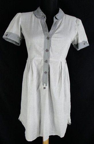 Anthropologie Silence & Noise, gray semi sheer shirt dress. Size XS / S. $79.99. Great little retro pin up rockabilly .