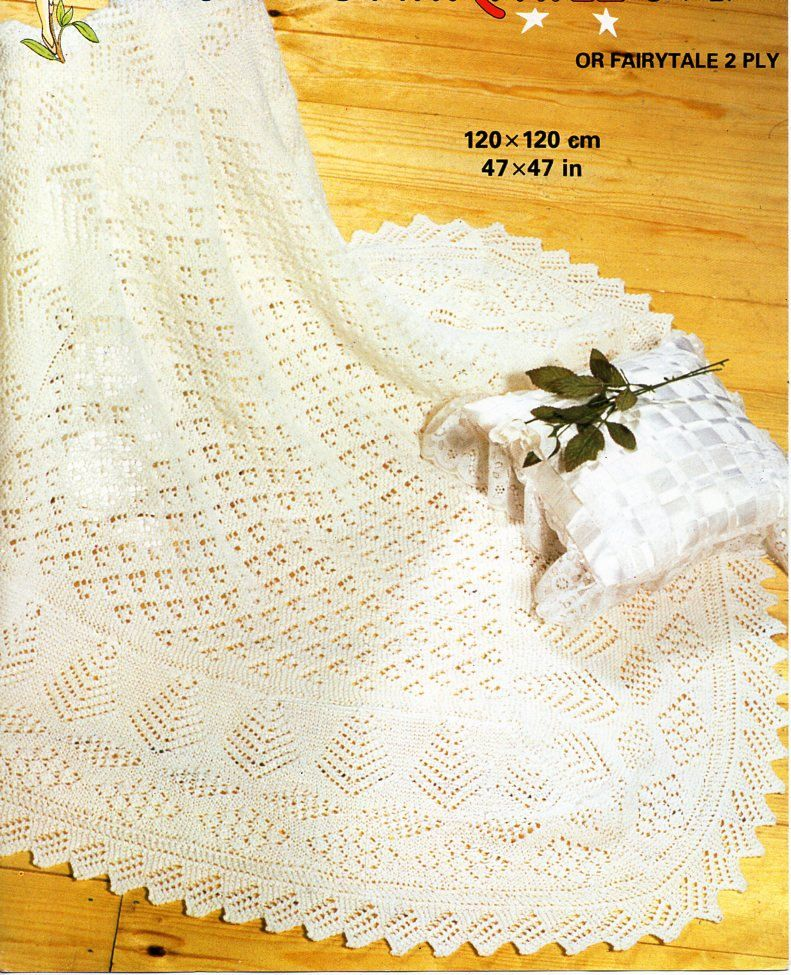 Lacy  Baby Shawl// Blanket  Knit in 3 Ply 4 Ply or DK  Knitting Pattern