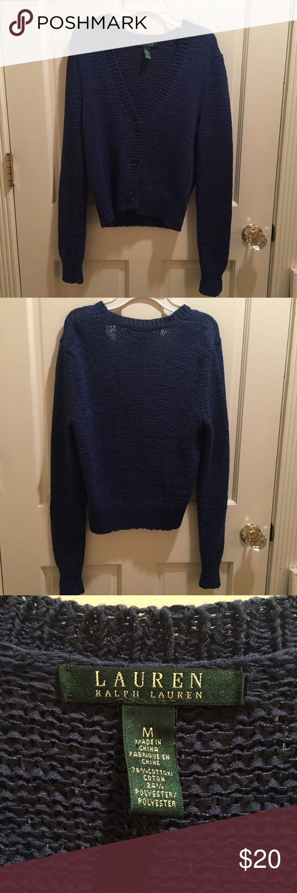 Ralph Lauren Blue Cardigan Very pretty blue sweater, only worn once or twice. Tag is a M but fits a S as well. Ralph Lauren Sweaters Cardigans