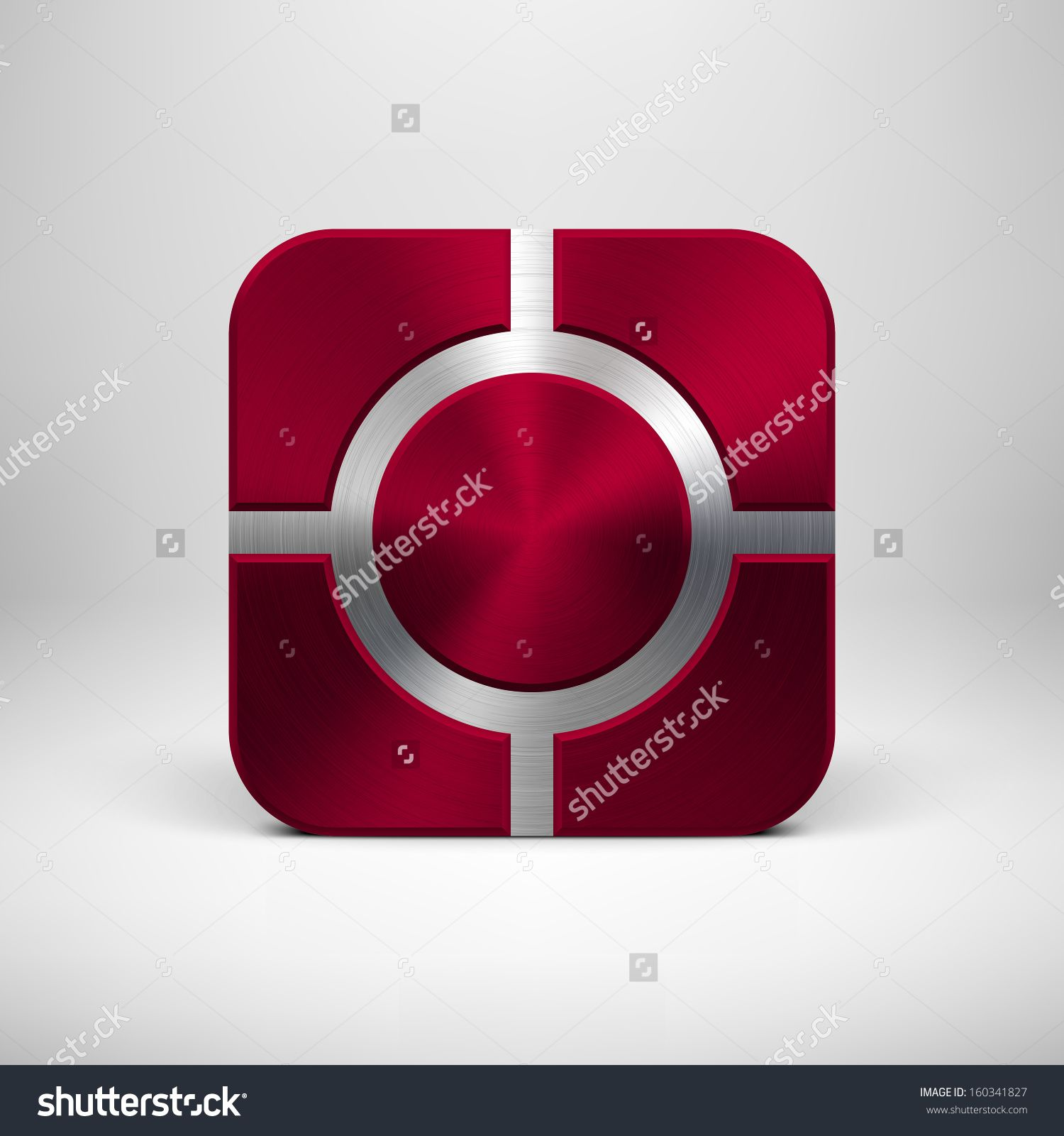 Abstract Technology App Icon, Button Template With Maroon