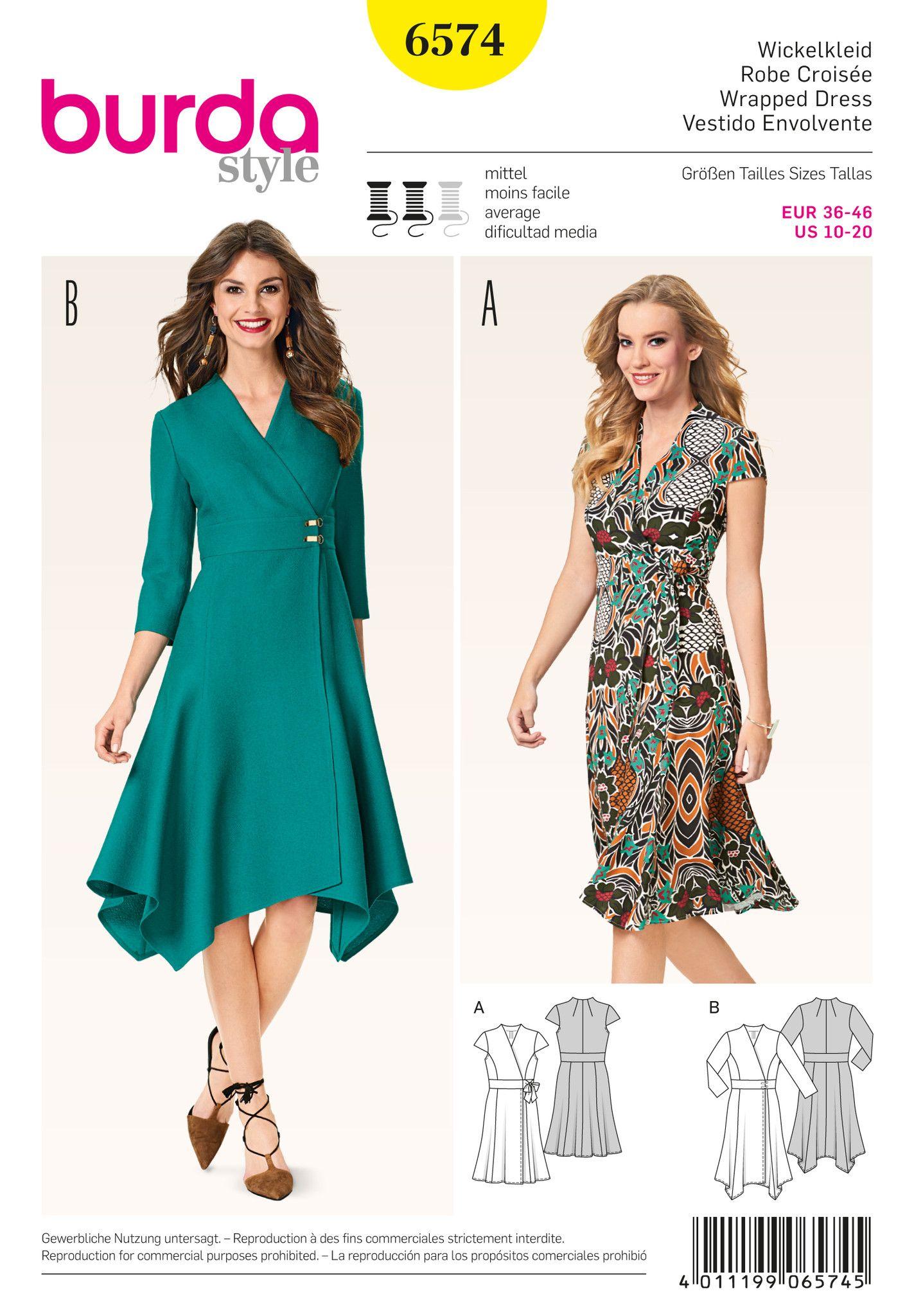 BD6574 Burda Style 6574 Wrap Dress Pattern | Sewing patterns ...