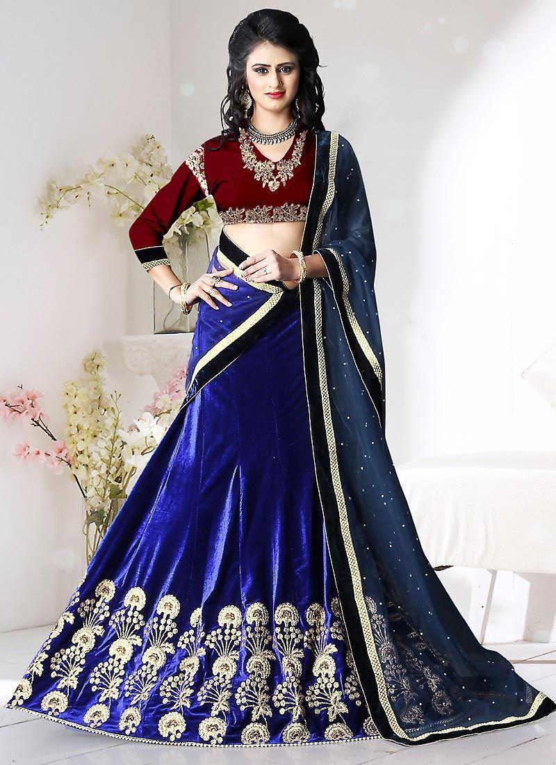25032668ba Royal Blue Velvet Circular Lehenga Choli #velvet #ceremoniallehenga #stone  #panellength #stylish #designer #Trendy #partywear #lehenga #lengha ...