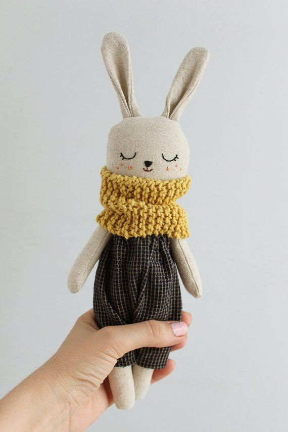 Bunny doll with dark blue checked pants and scarf. Organic stuffed animal. Soft rabbit doll. Cloth doll. Plush toy. Baby gift room