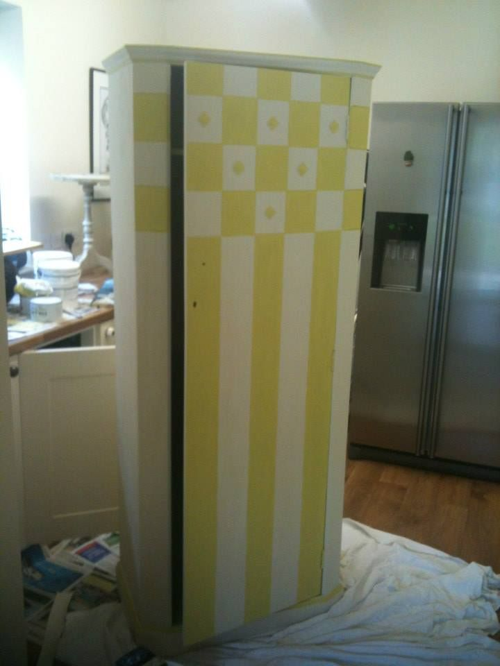 Single Wardrobe In Lime Green And Cream. Inside, See Picture Of Inside For  Decoupage