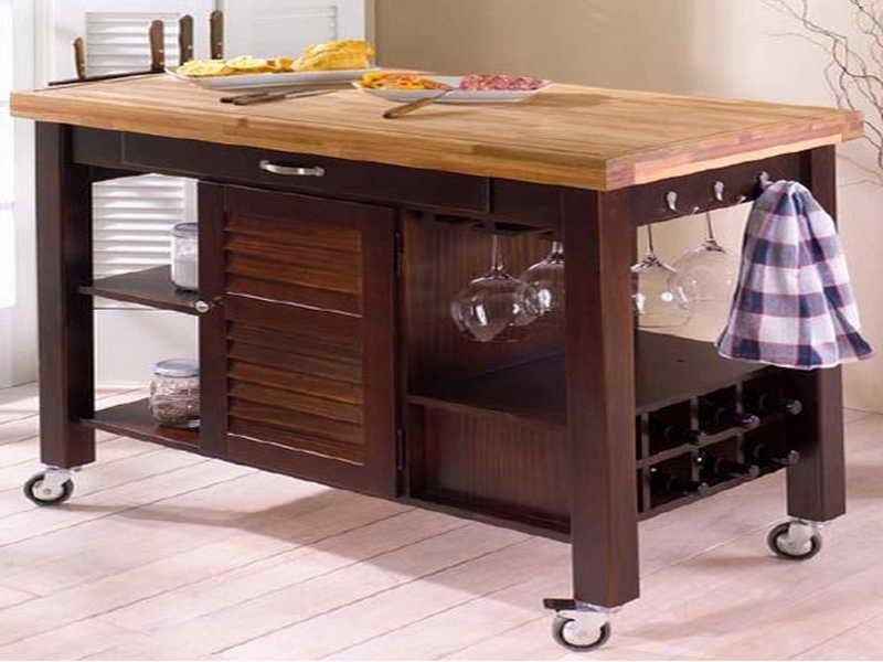 Decoration Butcher Block Cart Kitchen Island With Top On Casters