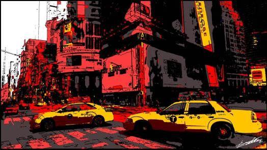 tableau new york d co peinture taxi jaune pop art new art pop art art