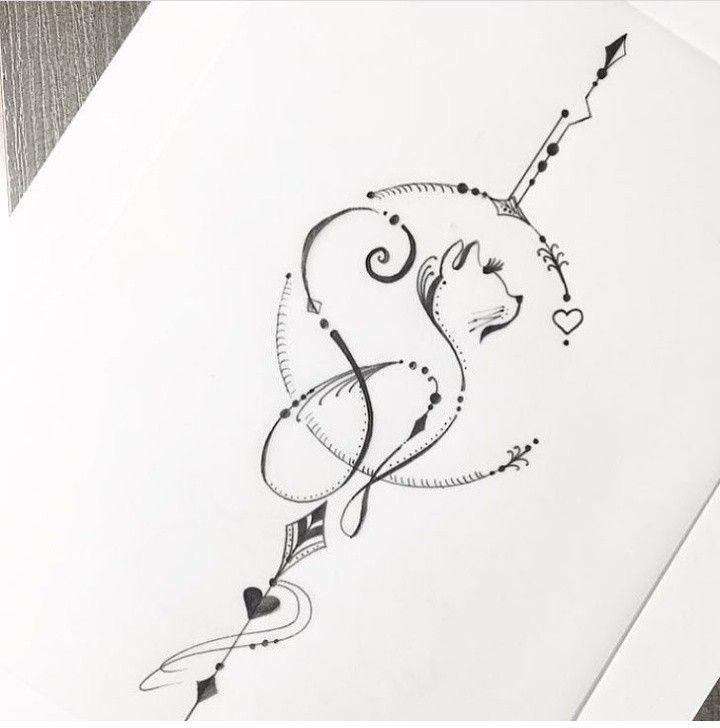 Korperkunst Minimalistisches Tattoo Katze Tattoo Und Tatowierungen