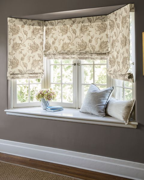 Flat Roman Cordless Fabric Shades 16406 For Front Windows Not