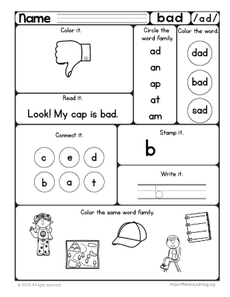 Bad Worksheet Word Families Pinterest Phonics Worksheets And