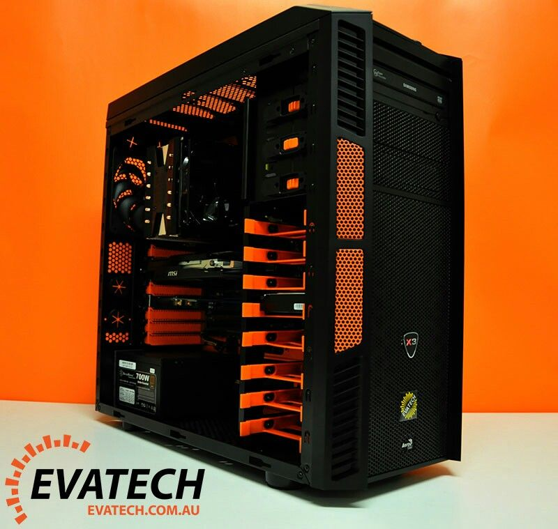 Orange And Black Computer Pc Tower Setup Liquid Cooled Custom Pc