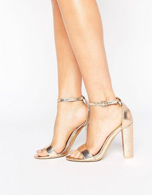 Glamorous Barely There Mid Heeled Block Sandal in Rose Gold great deals online bemiOG