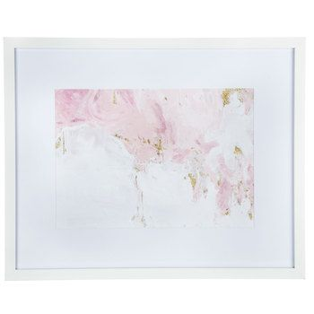 Pink White Gold Abstract Framed Wall Decor Frame Wall Decor Cow Wall Decor Gold Wall Art