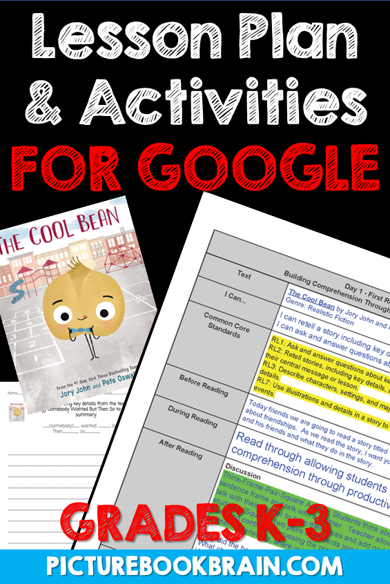 The Cool Bean By Jory John Lesson Plan And Google Activities In 2020 Reading Lesson Plans Read Alouds Kindergarten Lesson