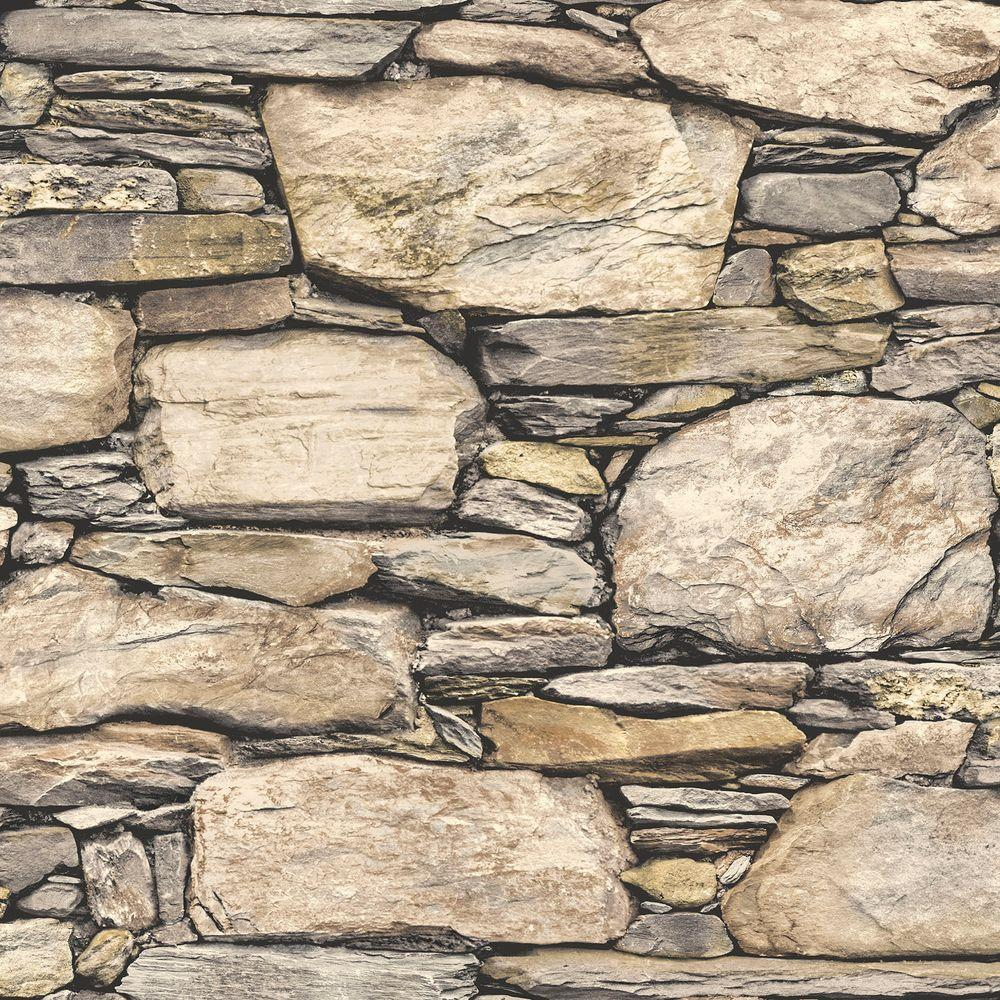 8 In X 10 In Hadrian Stone Wall Peel And Stick Wallpaper Sample Brown Stone Wallpaper Nuwallpaper Brick Wallpaper