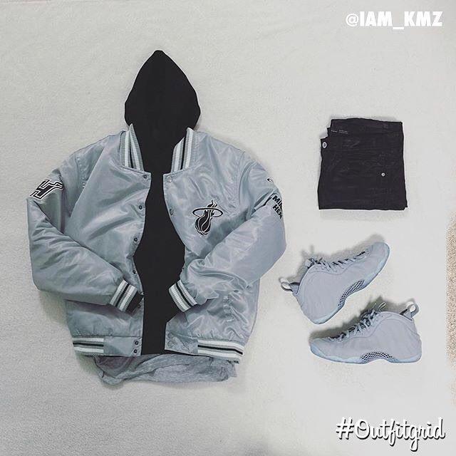 Today's top #outfitgrid is by @iam_kmz. ▫️#AlexanderWang #Hoodie ▫️#MiamiHeat #Jacket ▫️#JohnElliottCo #Tee ▫️#Zara #Denim ▫️#NikeSportswear #Foamposite