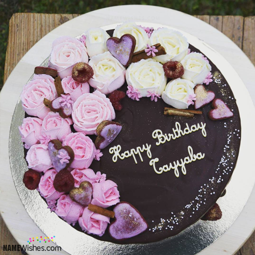 The Name Tayyaba Is Generated On Cookies Birthday Cakes