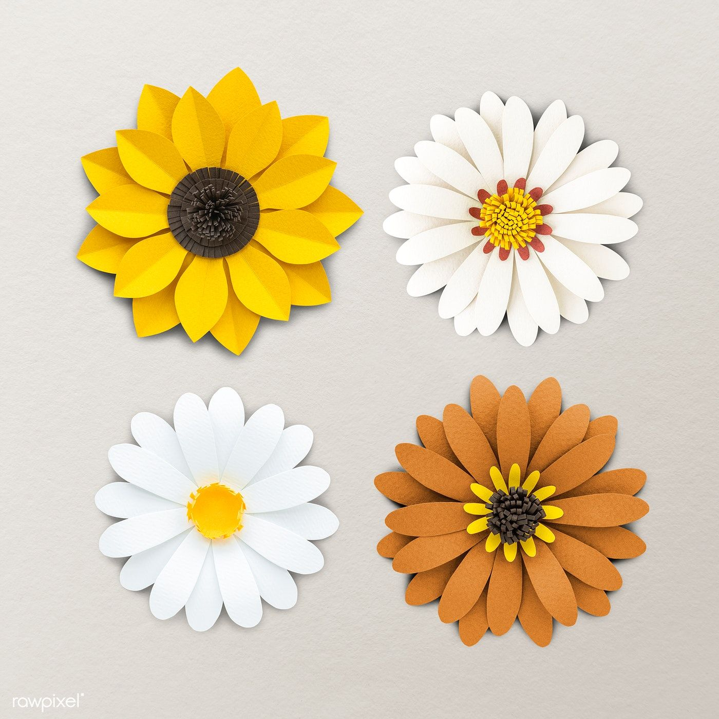 Download Premium Psd Of White And Yellow Flower Paper Craft Set