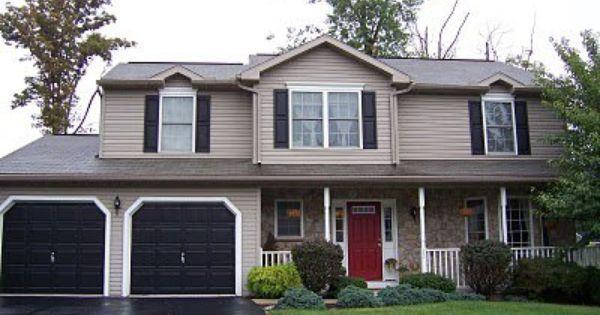 greige exterior color palette red front door - Google Search ...