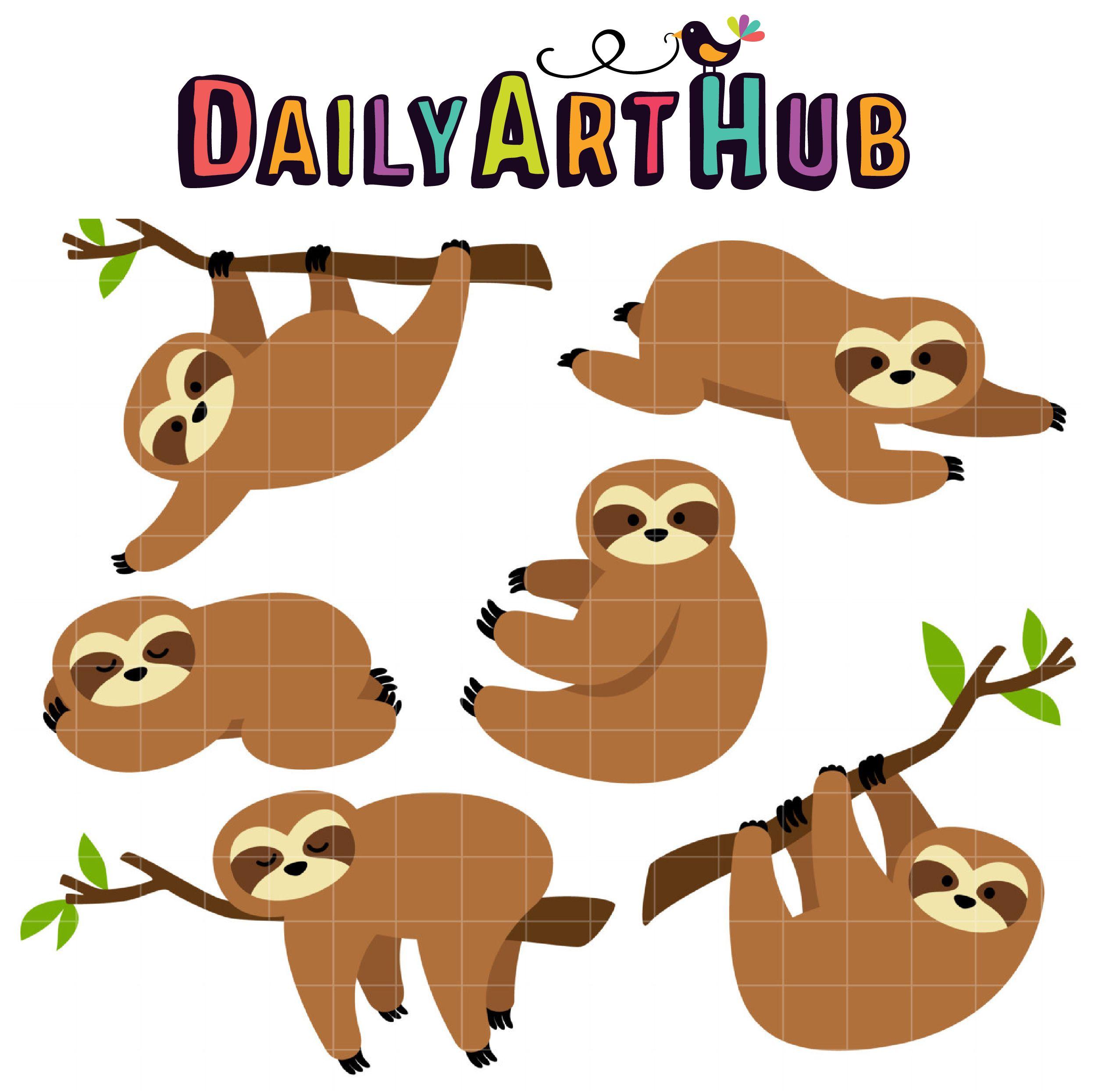 Sluggish Sloths Clip Art Set Clip art, Sloth, Art hub