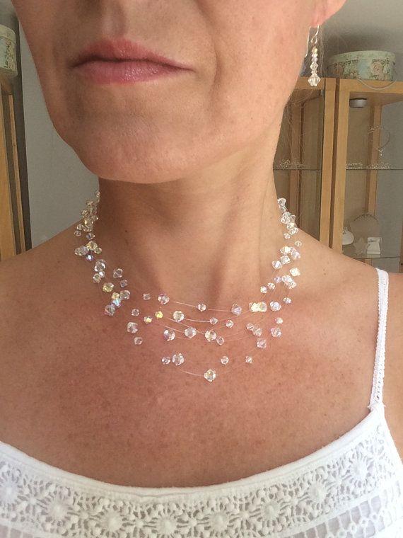 f83ea09bfadd Collar de ilusión de cristal de Swarovski hechos a mano Lo nombré Diamantes  7 Elegante