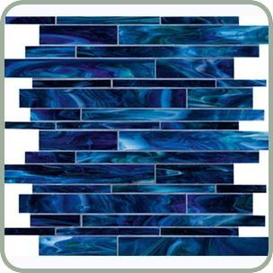 Unique Spandau Blue Vertical Glass Tile mesh mounted glass tiles in a