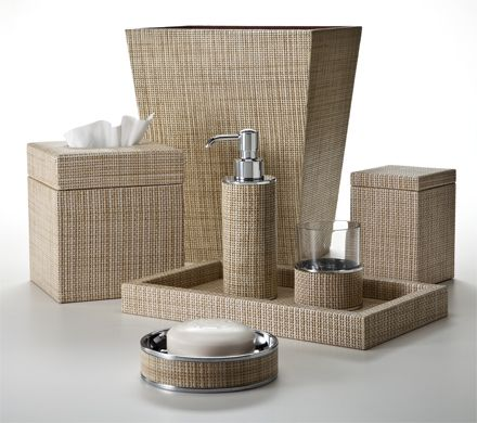 The Look Of Woven Rattan Embossed On Sandy Tan And Beige Leather The Soap Dispenser Includes A
