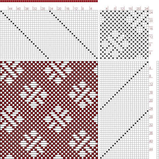 Hand Weaving Draft: Figure 685, A Handbook of Weaves by G. H. Oelsner, 24S, 24T - Handweaving.net Hand Weaving and Draft Archive