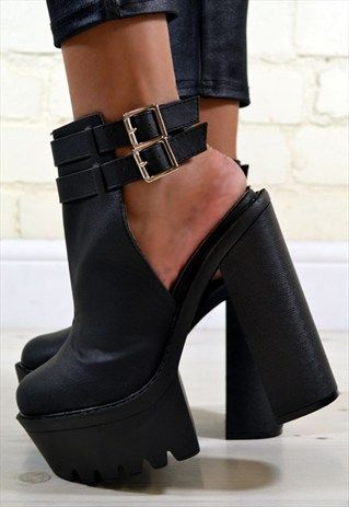 4dacff2bde7 LIANA HIGH CHUNKY HEEL CUT OUT BUCKLE ANKLE BOOTS IN BLACK