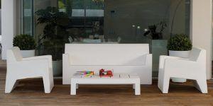 4 Piece Modern White Plastic Outdoor Sofa Set