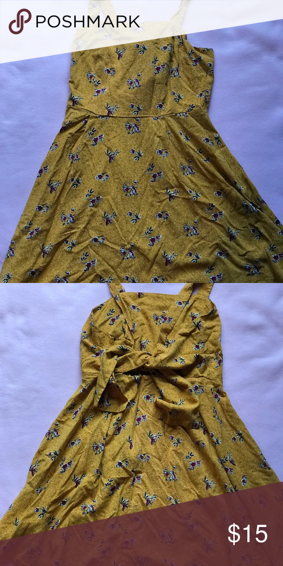 84653732dd0 Target floral sundress with tie in the back yellow sundress with flowers  and a tie on