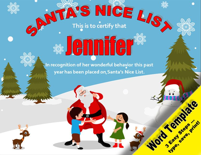 Santas Nice List Editable Word Template Printable Instant