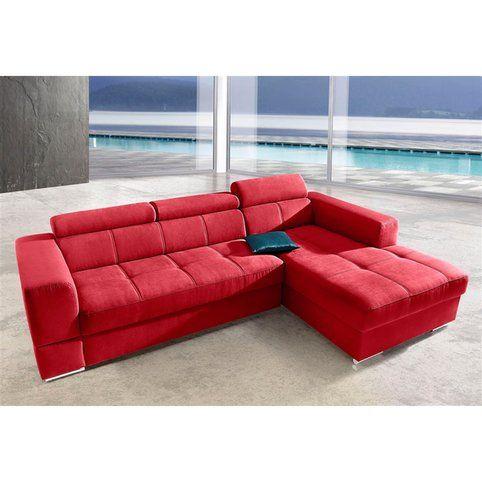 canap d 39 angle convertible en microfibre m ridienne droite ou gauche trendmanufaktur rouge. Black Bedroom Furniture Sets. Home Design Ideas