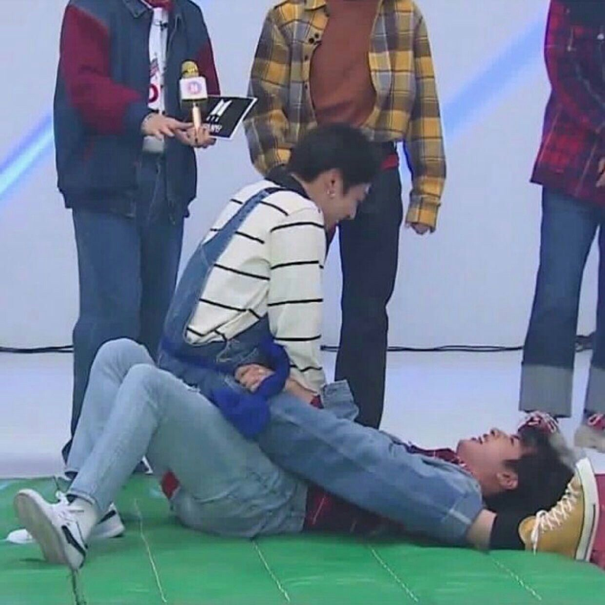Dad And Son...I Mean The Oldest And The Maknae Playing