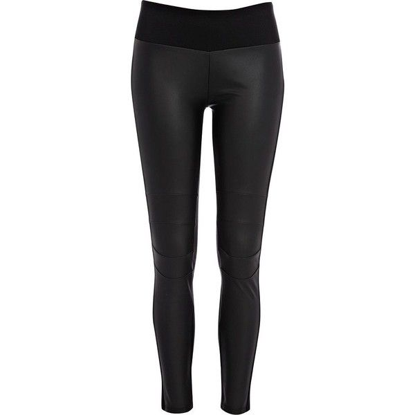 River Island Black leather-look front high waist leggings ($9.01) ❤ liked on